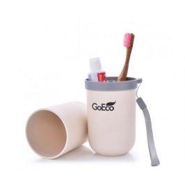 GoEco Bambusové cestovní pouzdro 3v1 - krémové