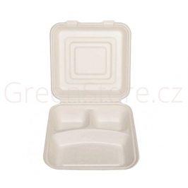 Menu box 3 sekce 1500ml - 22x20cm z cukrové třtiny (50ks)