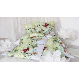 XPOSE ® Bavlněné povlečení na dvě lůžka KAROLÍNA - zelená 140x200, 70x90