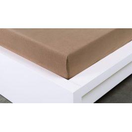 XPOSE ® Jersey prostěradlo Exclusive dvoulůžko - hnědá 160x200 cm