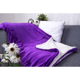 XPOSE ® Deka mikroplyš s beránkem - tmavě fialová 140x200 cm