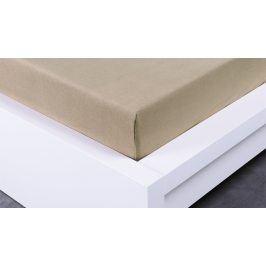 XPOSE ® Jersey prostěradlo dvoulůžko - kávová gramáž 150g/m 160x200 cm
