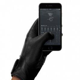 MUJJO Kožené dotykové rukavice - velikost 8 - černé