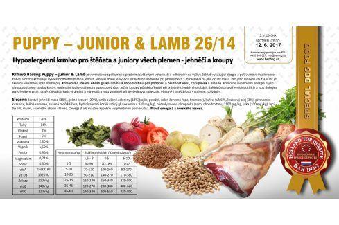 Puppy Junior Lamb hypoalergenní 26/14 - 1 kg Kvalitní krmivo pro mazlíčky