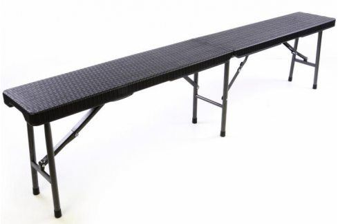 Garthen 37105 Skládací zahradní lavice v ratanovém designu - 180 x 25 cm Zahradní lavice