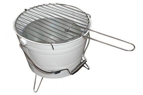 Garthen 27148 Mini BBQ gril vědro bílý Zahradní grily