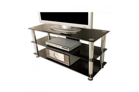 Tuin NOBLE 1281 Televizní skleněný stolek černý TV stolky a držáky