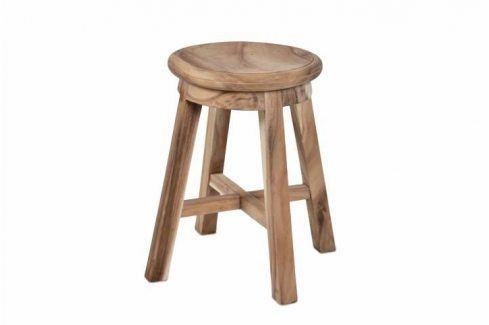 DIVERO 6144 Stolička kulatá z masivního SUAR dřeva Stoličky