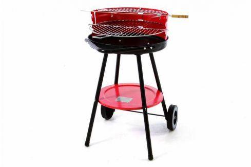 Garthen 40604 Zahradní gril na dřevěné uhlí s odkládací plochou - červený Grily na dřevěné uhlí