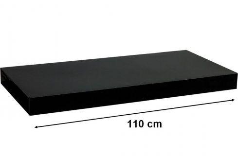 STILISTA VOLATO 31078 Nástěnná police  - lesklá černá 110 cm Regály a policky