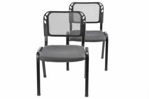 Garthen 38254 Sada stohovatelné kongresové židle 2 kusy - šedá Kancelářská křesla
