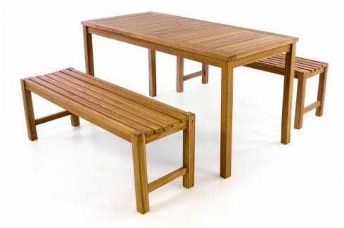 Divero 40819 Zahradní set lavic a stolu -  ošetřené týkové dřevo - 150 cm Zahradní sestavy
