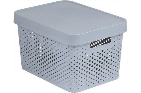 Curver Úložný box s víkem a puntíky Infinity 17 l bílá Úložné boxy