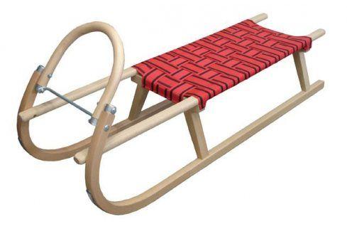 CorbySport 28443 Sáně 125cm dřevěné - červené Dětské boby a sáně