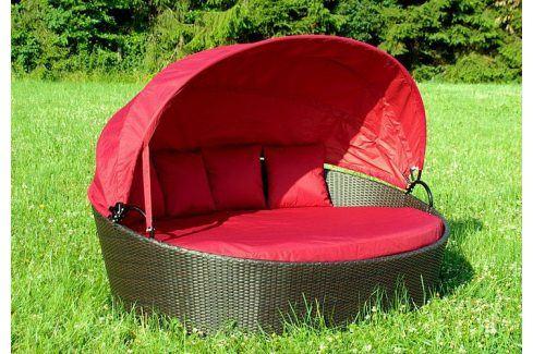Garthen 1011 Exkluzivní polyratanové lehátko - červené Zahradní ratanový nábytek