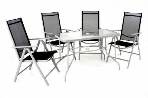 Garthen 40988 Zahradní skládací set stůl + 4 židle - černá Zahradní sestavy