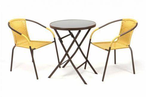 Garthen BISTRO 35222 Zahradní set 2 židle + stůl - béžový polyratan Zahradní ratanový nábytek
