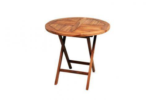 DIVERO 2211 kulatý zahradní stolek z týkového dřeva, Ø 80 cm Zahradní stolky