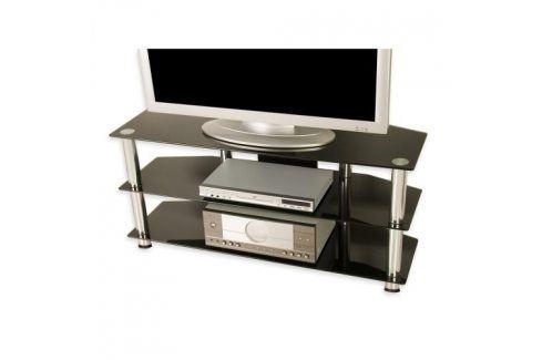 Tuin 1337 Televizní skleněný stolek černý TV stolky a držáky