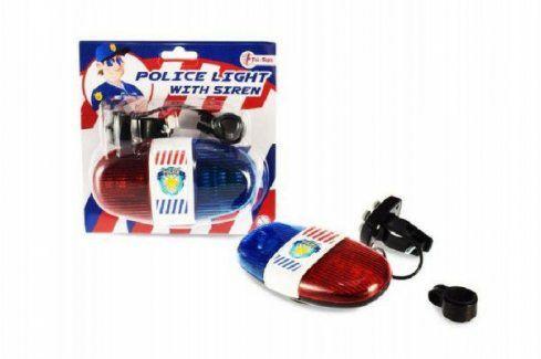 Policejní světlo na kolo plast 13cm na baterie se zvukem na kartě Hračky pro kluky