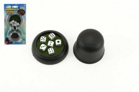 Hrací kostky 6ks s kelímkem společenská hra na kartě 11x21x5cm Stolní hry