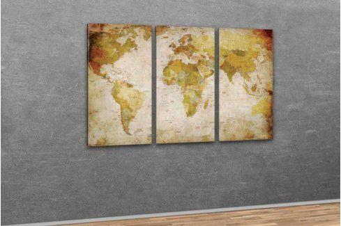 Starožitná mapa světa na plátně 120 x 80 cm Plakáty