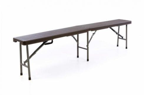 Garthen 55329 Zahradní lavice v ratanovém vzhledu - hnědá 180 x 25 cm Zahradní lavice