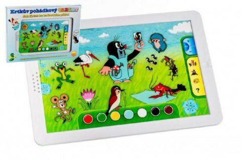 Krtek pohádkový tablet 30x20x2cm na baterie 12m+ v krabici Interaktivní Hračky