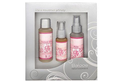Saloos Dárková kazeta Růže tři kroky ke kráse: odličovací olej 50 ml, pleťová voda 50 ml, obličejový olej 20 ml Přírodní kosmetika