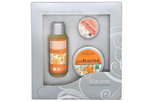Saloos Relax Relax masážní olej 50 ml + Bio Karité Rakytník balzám 50 ml + Bio Karité balzám na rty 19 ml dárková sada Kosmetické sady
