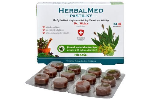 Simply You HerbalMed pastilky Dr. Weiss při kašli 24 pastilek + 6 pastilek ZDARMA Vitamíny a minerály
