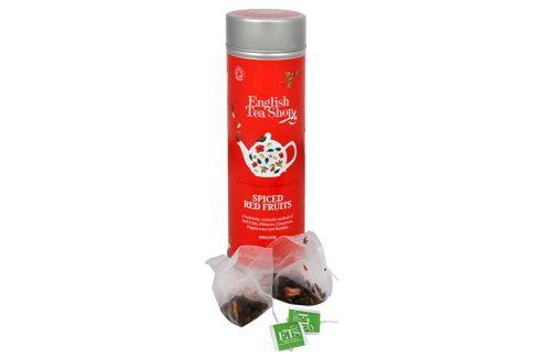 English Tea Shop Čaj kořeněné červené ovoce - plechovka s 15 bioodbouratelnými pyramidkami Čaje