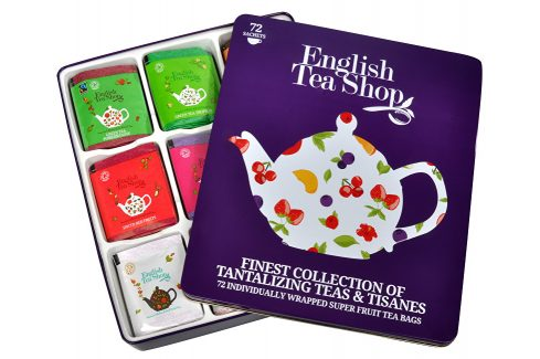 English Tea Shop Dárková plechová kazeta - výběr ovocných a bylinných čajů 72 sáčků/9 příchutí Čaje
