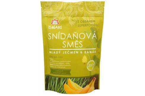 Iswari BIO Snídaňová směs Mladý ječmen, banán, naklíčená pohanka 800 g Sušené plody, ořechy, semena
