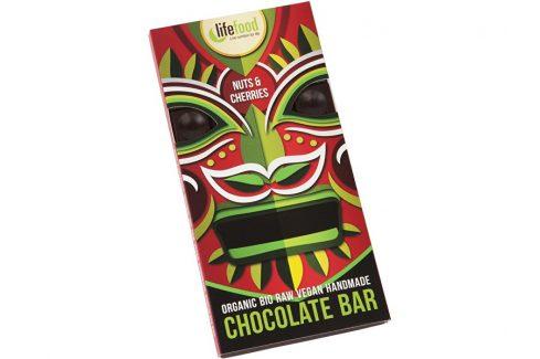 Lifefood Bio Lifefood Chocolate s kousky ořechů a třešní 70g Čokolády