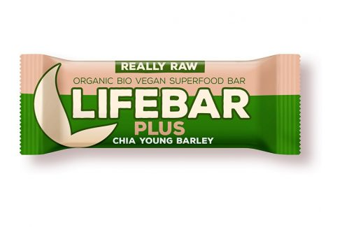 Lifefood Bio tyčinka Lifebar Plus chia semínka a mladý ječmen 47g Müsli tyčinky